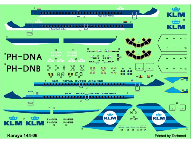 DC-9-15 - PH-DNA City of Amsterdam, PH-DNB City of Brussell decals