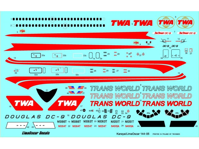 Douglas DC-9-14 Trans World Airlines decals