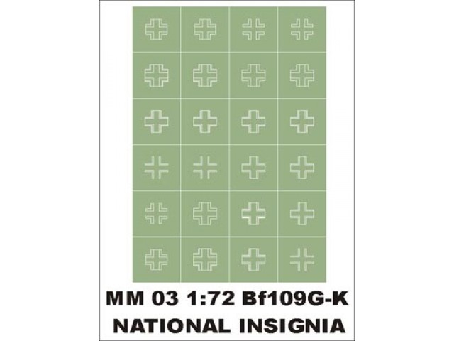 National insignia 1/72 Bf 109G/K